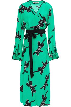 Diane von Furstenberg Women Midi Dresses - Woman Ariadne Printed Silk Crepe De Chine Midi Wrap Dress Jade Size L