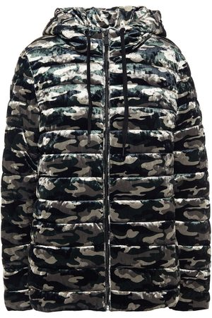 DKNY Women Jackets - Woman Quilted Printed Velvet Jacket Army Size L