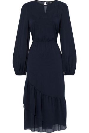 Paul Smith Woman Ruffled Crepon Midi Dress Midnight Size 38