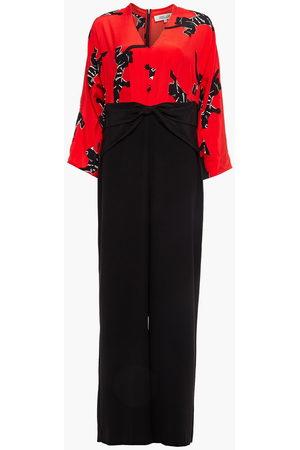 Diane von Furstenberg Women Jumpsuits - Woman Dokis Twist-front Paneled Printed Silk Jumpsuit Size 10