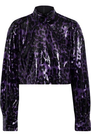 Diane von Furstenberg Woman Sala Cropped Metallic Leopard-print Velvet Top Size 0