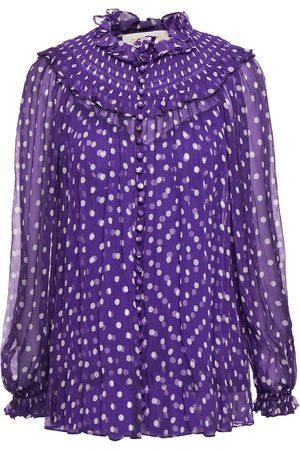 ZIMMERMANN Women Blouses - Woman Shirred Polka-dot Silk-crepon Blouse Violet Size 1