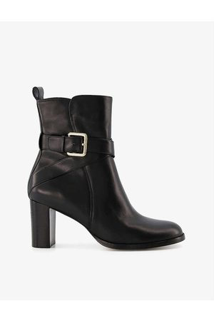Dune Pier buckle-strap heeled leather ankle boots