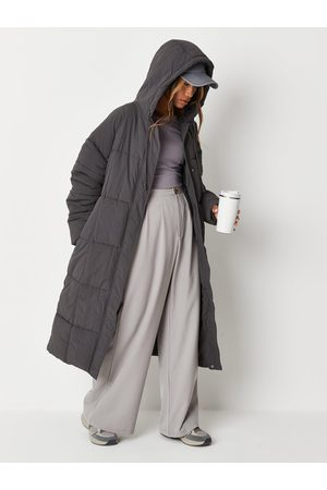 Missguided Vertical Seamed Longline Padded Coat