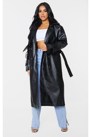 PRETTYLITTLETHING Petite Faux Leather Sleeve Detail Trench Coat