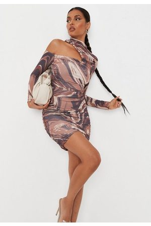 Missguided Marble Print High Neck Ruched Cut Out Slinky Mini Dress
