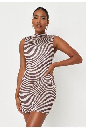 Missguided Carli Bybel X Swirl Print Slinky Shoulder Pad Mini Dress