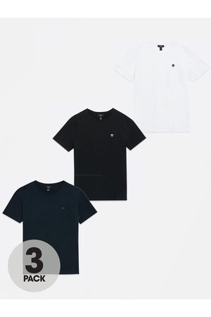 New Look Boys 3 Pack White Navy And Black Sun T-Shirts