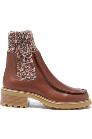 Chloé Women Ankle Boots - Jamie Knitted-cuff Leather Ankle Boots - Womens - Burgundy