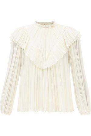 Chloé Ruffled Pleated Wool Blouse - Womens