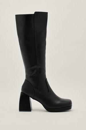 NASTY GAL Womens Wide Leg Pu Platform Knee High Boots