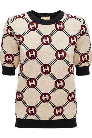 Gucci Women Tops - Soft Wool Logo Jacquard Knit Top