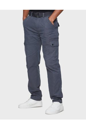 Threadbare Men Cargo Trousers - Pane Charcoal Plain Cargo Trousers