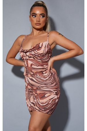 PRETTYLITTLETHING Petite Marble Print Strappy Ruched Bodycon Dress