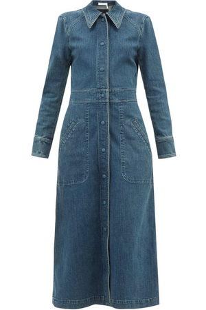 Chloé Long-sleeved Denim Dress - Womens - Denim