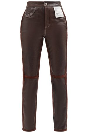 MM6 MAISON MARGIELA High-rise Suede And Leather Straight-leg Trousers - Womens