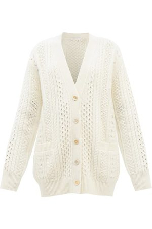 Chloé Women Cardigans - Cabled Wool-blend Longline Cardigan - Womens - Cream