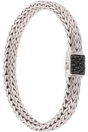 John Hardy Men Bracelets - Silver Classic Chain Flat Chain Bracelet with Sapphire Clasp