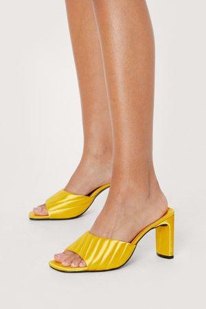 Nasty Gal Women Heels - Womens Satin Block Heel Mules