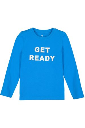 La Redoute Organic Cotton T-Shirt with Slogan Print and Long Sleeves, 3-12 Years