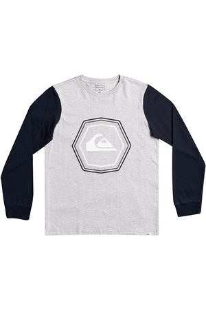 Quiksilver Boys T-shirts - Logo Print Cotton T-Shirt with Long Sleeves, 8-16 Years