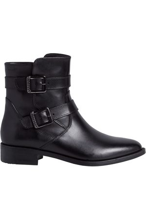 tamaris Leather Flat Ankle Boots with Buckle