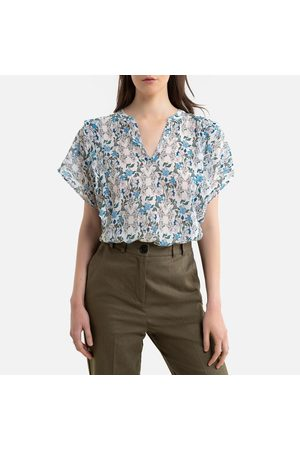 IKKS Graphic Print Blouse with Round Neck and Short Sleeves