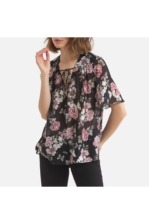 IKKS Floral Print Blouse with V-Neck and Short Sleeves