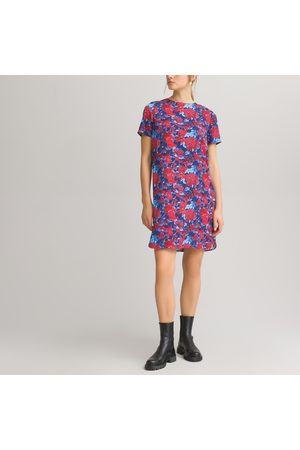 La Redoute Floral Mini Shift Dress with Crew Neck and Short Sleeves