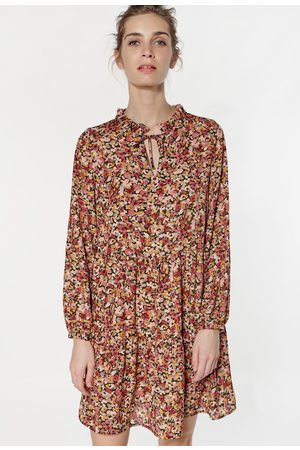 LE TEMPS DES CERISES Recycled Floral Mini Dress with Gathered Crew Neck