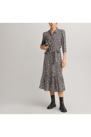 La Redoute Floral Midi Shirt Dress with 3/4 Length Sleeves