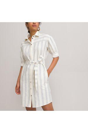La Redoute Striped Mini Shirt Dress in Cotton/Linen