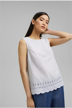 Esprit Broderie Anglaise Sleeveless Blouse in Organic Cotton with Crew Neck
