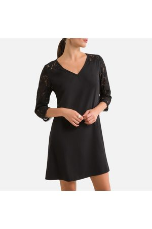 FREEMAN T. PORTER V-Neck Mini Dress with Lace Sleeves