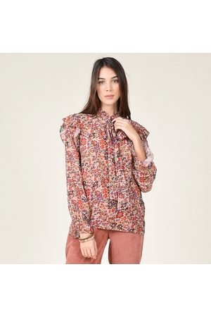Molly Bracken Ruffled Floral Voile Blouse with Pussy Bow