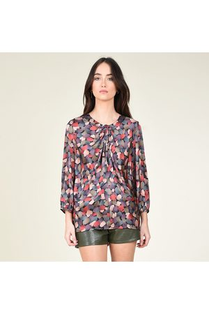 Molly Bracken Printed Detailed Collar Blouse with Tie Effect