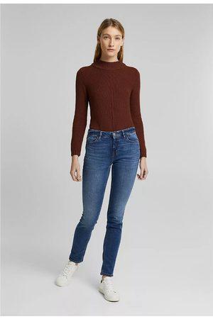 "Esprit Mid-Rise Slim Jeans in Organic Cotton, Length 32"""