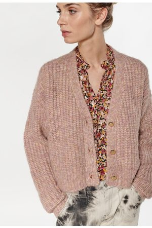 Le Temps des Cerises Chunky Knit Cropped Cardigan with V-Neck