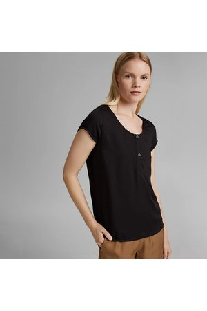 Esprit Short Sleeve T-Shirt with Buttoned Crew Neck