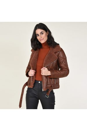 Molly Bracken Aviator Jacket with Asymmetric Zip and Faux Fur Collar