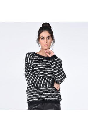 Molly Bracken Women Sweatshirts - Striped Metallic Jumper in Fluffy Knit
