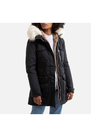 Schott NYC Mid-Length Parka with Faux Fur Hood and Pockets