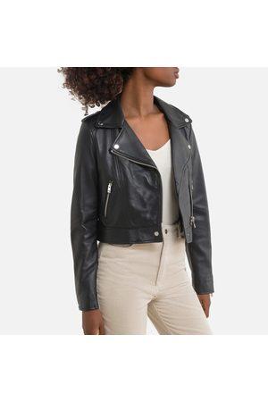 Oakwood Short Zip-Up Biker Jacket in Leather
