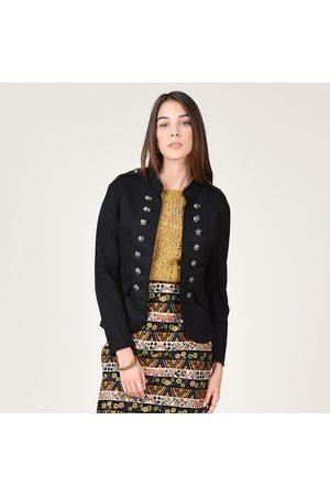 Molly Bracken Women Blazers - Peachskin Military Jacket with Decorative Buttons
