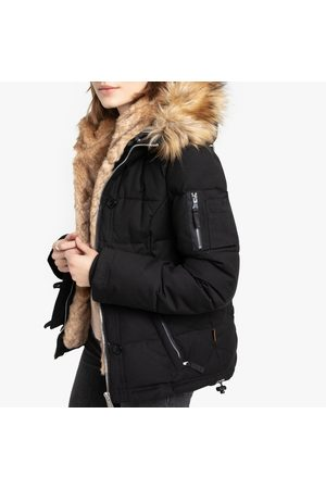Schott NYC Misty Short Parka with Faux Fur Lining and Pockets