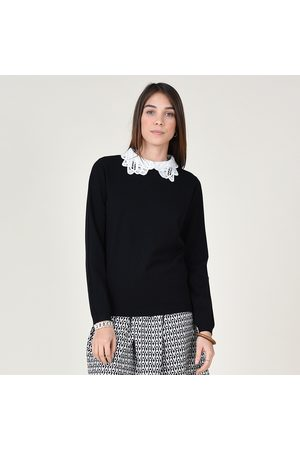Molly Bracken Fine Knit Jumper with Lace Collar