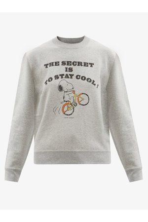Saint Laurent X Peanuts Slogan-print Cotton-jersey Sweatshirt - Womens