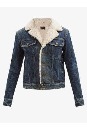 Saint Laurent Women Denim Jackets - Shearling-lined Denim Jacket - Womens - Denim