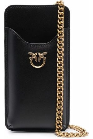 Pinko Logo-plaque leather phone pouch