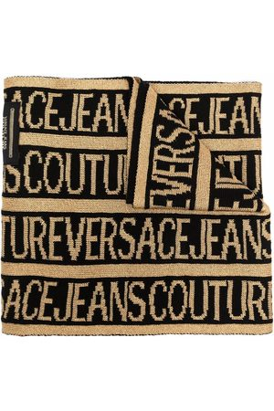 VERSACE Intarsia-knit logo wool-blend scarf